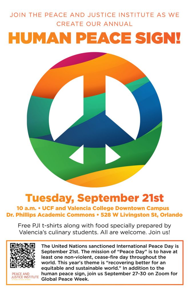 Join the Peace and Justice Institute as we create our annual Human Peace Sign!